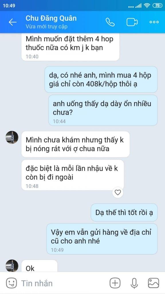 chu dang quan uong hp plus het dau da day nong rat o chua